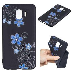 Little Blue Flowers 3D Embossed Relief Black TPU Cell Phone Back Cover for Samsung Galaxy J4 (2018) SM-J400F