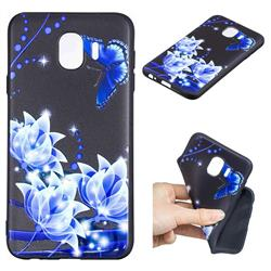 Blue Butterfly 3D Embossed Relief Black TPU Cell Phone Back Cover for Samsung Galaxy J4 (2018) SM-J400F