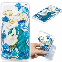 Blue Flower Unicorn Clear Varnish Soft Phone Back Cover for Samsung Galaxy J4 (2018) SM-J400F
