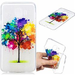 Oil Painting Tree Clear Varnish Soft Phone Back Cover for Samsung Galaxy J4 (2018) SM-J400F