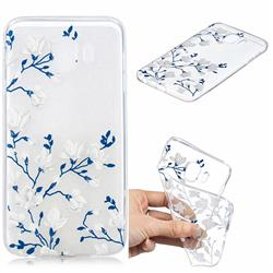 Magnolia Flower Clear Varnish Soft Phone Back Cover for Samsung Galaxy J4 (2018) SM-J400F