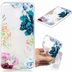 Gem Flower Clear Varnish Soft Phone Back Cover for Samsung Galaxy J4 (2018) SM-J400F
