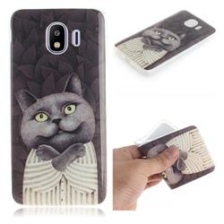 Cat Embrace IMD Soft TPU Cell Phone Back Cover for Samsung Galaxy J4 (2018) SM-J400F