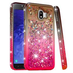 Diamond Frame Liquid Glitter Quicksand Sequins Phone Case for Samsung Galaxy J4 (2018) SM-J400F - Gray Pink