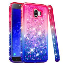 Diamond Frame Liquid Glitter Quicksand Sequins Phone Case for Samsung Galaxy J4 (2018) SM-J400F - Pink Blue