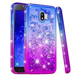 Diamond Frame Liquid Glitter Quicksand Sequins Phone Case for Samsung Galaxy J4 (2018) SM-J400F - Blue Purple