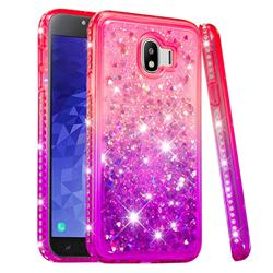 Diamond Frame Liquid Glitter Quicksand Sequins Phone Case for Samsung Galaxy J4 (2018) SM-J400F - Pink Purple