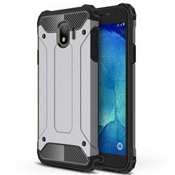 King Kong Armor Premium Shockproof Dual Layer Rugged Hard Cover for Samsung Galaxy J4 (2018) SM-J400F - Silver Grey