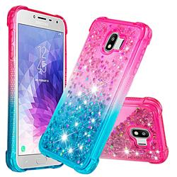 Rainbow Gradient Liquid Glitter Quicksand Sequins Phone Case for Samsung Galaxy J4 (2018) SM-J400F - Pink Blue