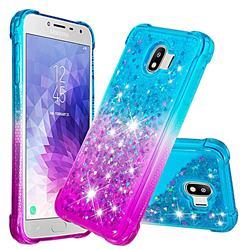 Rainbow Gradient Liquid Glitter Quicksand Sequins Phone Case for Samsung Galaxy J4 (2018) SM-J400F - Blue Purple