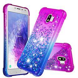 Rainbow Gradient Liquid Glitter Quicksand Sequins Phone Case for Samsung Galaxy J4 (2018) SM-J400F - Purple Blue