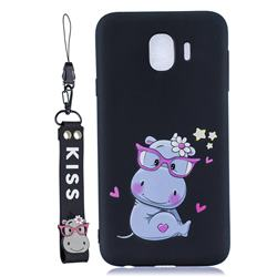 Black Flower Hippo Soft Kiss Candy Hand Strap Silicone Case for Samsung Galaxy J4 (2018) SM-J400F