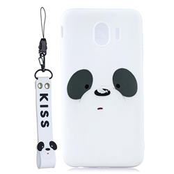 White Feather Panda Soft Kiss Candy Hand Strap Silicone Case for Samsung Galaxy J4 (2018) SM-J400F