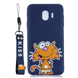 Blue Cute Cat Soft Kiss Candy Hand Strap Silicone Case for Samsung Galaxy J4 (2018) SM-J400F