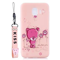Pink Flower Bear Soft Kiss Candy Hand Strap Silicone Case for Samsung Galaxy J4 (2018) SM-J400F