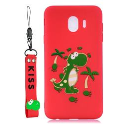Red Dinosaur Soft Kiss Candy Hand Strap Silicone Case for Samsung Galaxy J4 (2018) SM-J400F
