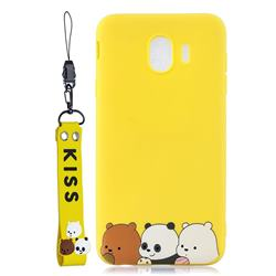 Yellow Bear Family Soft Kiss Candy Hand Strap Silicone Case for Samsung Galaxy J4 (2018) SM-J400F