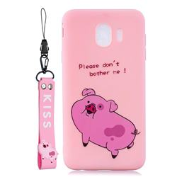 Pink Cute Pig Soft Kiss Candy Hand Strap Silicone Case for Samsung Galaxy J4 (2018) SM-J400F
