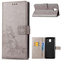Embossing Imprint Four-Leaf Clover Leather Wallet Case for Samsung Galaxy J4 (2018) SM-J400F - Grey