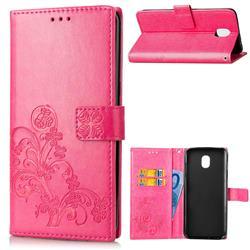 Embossing Imprint Four-Leaf Clover Leather Wallet Case for Samsung Galaxy J4 (2018) SM-J400F - Rose