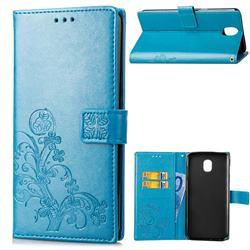 Embossing Imprint Four-Leaf Clover Leather Wallet Case for Samsung Galaxy J4 (2018) SM-J400F - Blue