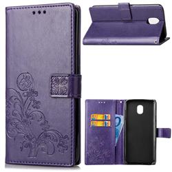 Embossing Imprint Four-Leaf Clover Leather Wallet Case for Samsung Galaxy J4 (2018) SM-J400F - Purple