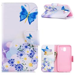Butterflies Flowers Leather Wallet Case for Samsung Galaxy J4 (2018) SM-J400F