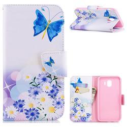 Butterflies Flowers Leather Wallet Case for Samsung Galaxy J4 (2018) SM-J400F