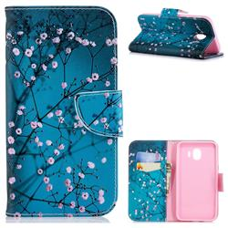 Blue Plum Leather Wallet Case for Samsung Galaxy J4 (2018) SM-J400F