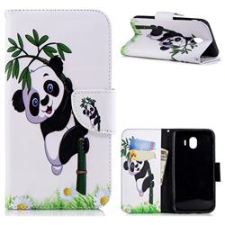 Bamboo Panda Leather Wallet Case for Samsung Galaxy J4 (2018) SM-J400F