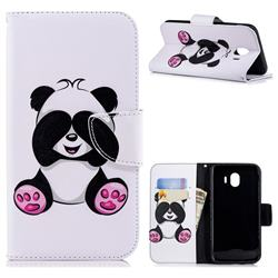 Lovely Panda Leather Wallet Case for Samsung Galaxy J4 (2018) SM-J400F