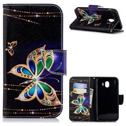 Golden Shining Butterfly Leather Wallet Case for Samsung Galaxy J4 (2018) SM-J400F
