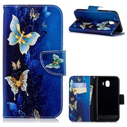 Golden Butterflies Leather Wallet Case for Samsung Galaxy J4 (2018) SM-J400F