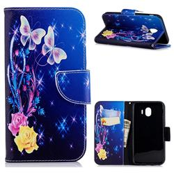 Yellow Flower Butterfly Leather Wallet Case for Samsung Galaxy J4 (2018) SM-J400F