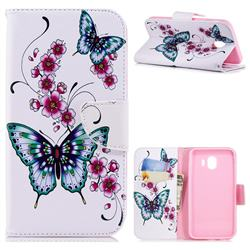 Peach Butterflies Leather Wallet Case for Samsung Galaxy J4 (2018) SM-J400F