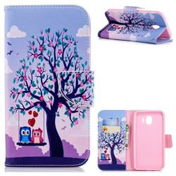 Tree and Owls Leather Wallet Case for Samsung Galaxy J4 (2018) SM-J400F