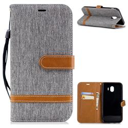 Jeans Cowboy Denim Leather Wallet Case for Samsung Galaxy J4 (2018) SM-J400F - Gray