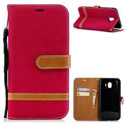 Jeans Cowboy Denim Leather Wallet Case for Samsung Galaxy J4 (2018) SM-J400F - Red