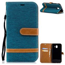 Jeans Cowboy Denim Leather Wallet Case for Samsung Galaxy J4 (2018) SM-J400F - Green