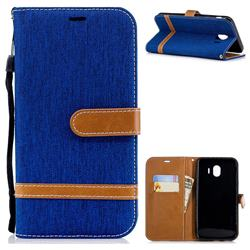 Jeans Cowboy Denim Leather Wallet Case for Samsung Galaxy J4 (2018) SM-J400F - Sapphire