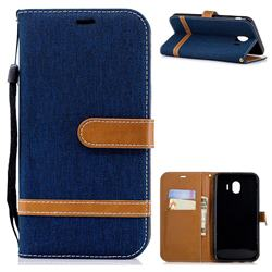 Jeans Cowboy Denim Leather Wallet Case for Samsung Galaxy J4 (2018) SM-J400F - Dark Blue