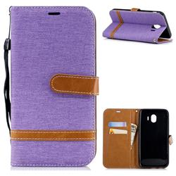 Jeans Cowboy Denim Leather Wallet Case for Samsung Galaxy J4 (2018) SM-J400F - Purple