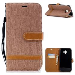 Jeans Cowboy Denim Leather Wallet Case for Samsung Galaxy J4 (2018) SM-J400F - Brown