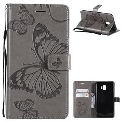 Embossing 3D Butterfly Leather Wallet Case for Samsung Galaxy J4 (2018) SM-J400F - Gray