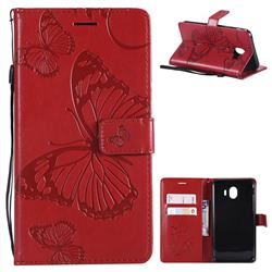 Embossing 3D Butterfly Leather Wallet Case for Samsung Galaxy J4 (2018) SM-J400F - Red