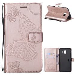 Embossing 3D Butterfly Leather Wallet Case for Samsung Galaxy J4 (2018) SM-J400F - Rose Gold