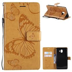 Embossing 3D Butterfly Leather Wallet Case for Samsung Galaxy J4 (2018) SM-J400F - Yellow