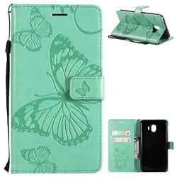 Embossing 3D Butterfly Leather Wallet Case for Samsung Galaxy J4 (2018) SM-J400F - Green