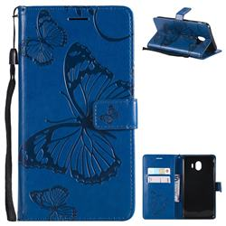 Embossing 3D Butterfly Leather Wallet Case for Samsung Galaxy J4 (2018) SM-J400F - Blue