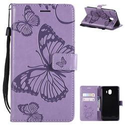 Embossing 3D Butterfly Leather Wallet Case for Samsung Galaxy J4 (2018) SM-J400F - Purple